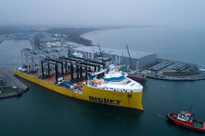 Из порта Гданьск в США отправили десять кранов (ВИДЕО)