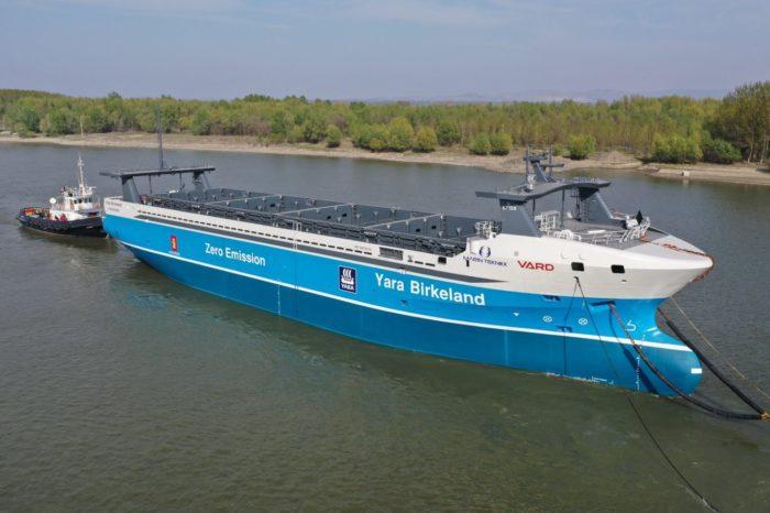 Автономное судно-контейнеровоз Yara Birkeland передали владельцу