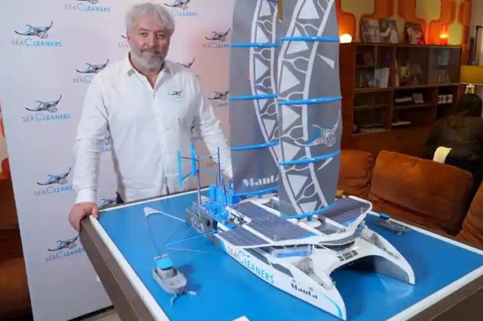 Во Франции разработали катамаран для сбора пластика в океане